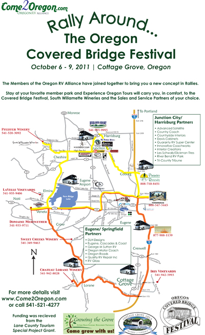 ORVA Covered Bridge Rally Around map